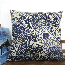 "Navy Blue Geometric Linen Cotton Cushion Covers Throw PillowCase 18""x45cm-168"