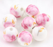 10/20Pcs 12mm Flower Pattern Round Ceramic Porcelain Loose Beads For Jewelry