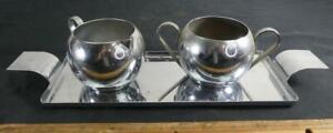 Vtg Art Deco Tea Service Sugar Creamer Tray Set Revere Rome NY Norman Bel Geddes