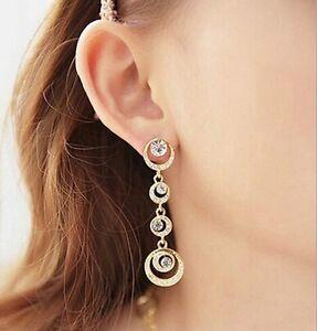 New Fashion Women Gold or Silver Plated Crystal Rhinestone Drop Dangle Earrings