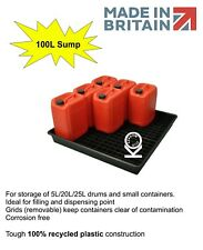 9x 20L/100L Oil Chemical Bunded Drip Sump Spill Pallet Tray Removable base grid