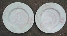 "Set of 2 Vintage Fitz & Floyd Fish Plates Pink 7.75"" 1982"