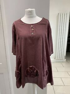 Made In Italy Lagenlook Purple Tunic Top With Matching Scarf Size L 16 18