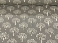 Mulberry Grey Linen Trees  Curtain/Craft/upholstery Fabric 140cm wide