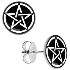 Pentagram Pentacle Stud Earrings Pagan Wiccan Witch God Star Goth Emo Gift