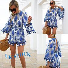 Women Floral Tassel Dress Jumpsuit Mini Playsuit Summer Beach Holiday Ropemer