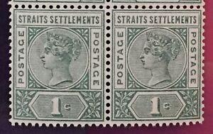 MALAYA Straits Settlements 1892 QV 1c Block of 2V MNH SG#95 M1941