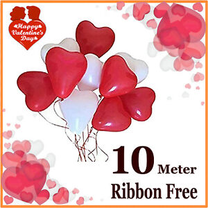 100 RED & WHITE HEART SHAPE LOVE BALLOONS Wedding Party Valentines Father day