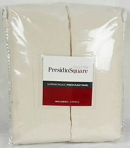 "JCP Presidio Square Supreme Palace Pinch-Pleat Panel Pair - 50"" x 95"" Ivory"