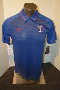 Texas Rangers Baseball Blue Stripe Nike Polo Shirt Men's Sizes S-XXL  N w Tags