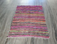 4 X 6 ft Colorful Woven Chindi Braided Area Decorative Rag Rug Indian Bohemian