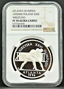 1995 POLAND 20 zl Atlanta Olympics WRESTLING NGC PF70