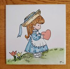 "Joan Walsh Anglund Tile Vintage Painted Girl Wall Plaque 1973 6"" Japan"