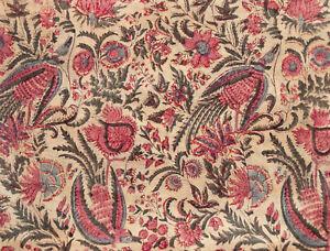 "Hand Block Printed Raw Tussah Silk Fabric Palampore Historic Design 42"" Wide"
