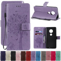 For Motorola Moto G7 Z4 Play Tree&Cat Leather Flip Wallet Card Stand Case Cover