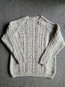 Hand knitted cream Aran tweed cable oversize sweater jumper unisex szM 12 14 new