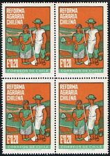 CHILE 1968 STAMP # 720 MNH BLOCK OF FOUR AGRARIAN REFORM