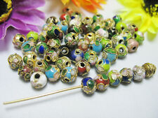 Free 50pcs mixed color cloisonne Fit Charms Bracelet Pendant Spacer Beads 6mm