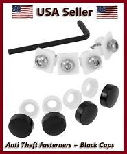 NEW ANTI-THEFT LICENSE PLATE FRAME FASTENERS + BLACK CAPS MOTORCYCLE/AUTO COVERS