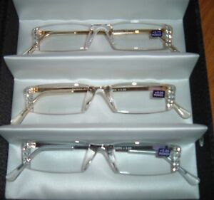 2 Lady READING GLASSES Compact light clear frame with Crystals Bling with Style