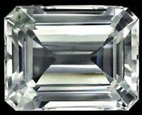 Unheated 10.39ct AAAAA White Sapphire 10x14mm Emerald Diamond Cut VVS Loose Gems
