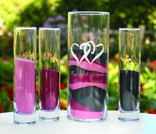 4 Pc Two Hearts Unity Sand Glass Cylinder Wedding Ceremony Set WITH Sand!