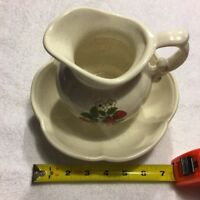 McCoy Pottery White Pitcher And Bowl Set--Strawberries Decor #7528