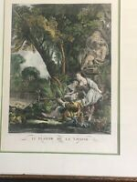 "rare ""La Chasse"" by Beauvarlet Direxit, print, Paris Copperplate engraving print"