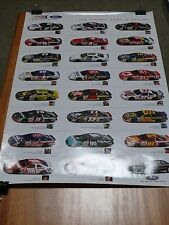 """Vintage Poster 19x27"""" FORD WE RACE YOU WIN 24 Racing Cars + Drivers Pictures VGC"""