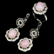 Zirconia 925 Sterling Silver Ring Earrings Oval Cab 10x8mm Pink Opal White Cubic