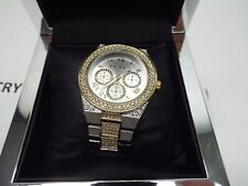 New Womens BEBE Silver Gold Rhinestones 42mm Stainless Steel Watch Bling