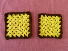"2 NEW Crocheted Trivets/Hot Pads, 5.5"" sq. yellow w/brown edge"