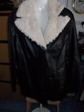 MIA LINEA BLACK FAUX LEATHER JACKET WITH DETACABLE FUR COLLAR SIZE 16
