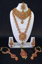 Indian Ethnic Bollywood Wedding Fashion Bridal Gold Plated 8 PCS Jewelry Set