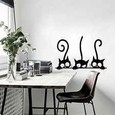 Three Black Cat Wall Vinyl Sticker Decal Mural DIY Living Room Decor Water-proof