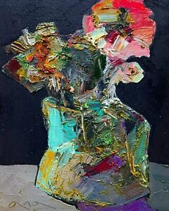 Original abstract painting oil on canvas board 6x8 in by Anastasiya Kimachenko