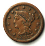 1847 1c Braided Hair Large Cent One Penny US