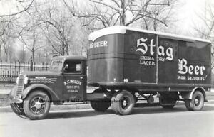 Vintage Stag Beer Truck PHOTO Bar Sign Ad St Louis Brewery 1940s
