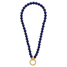 NIKKI LISSONI 30% SALE! Dyed Blue Jade Necklace Gold Plate 48cm RRP $169