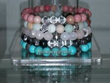 Sterling Silver Pink Gray Turquoise Gemstone Stack Beaded Stretch Bracelet Set