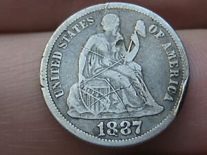 1887 P Seated Liberty Silver Dime- Fine Details