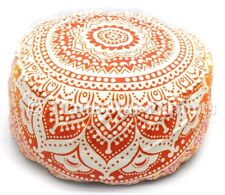 Large Ombre Mandala Ottoman Pouf Cover Round Floor Footstool Cotton Pouffe Cases