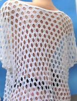 White sheer short sleeve Summer Blouse top over shirt Sz  L