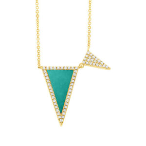 0.96 TCW 14K Yellow Gold Natural Diamond Triangle Turquoise Pendant Necklace