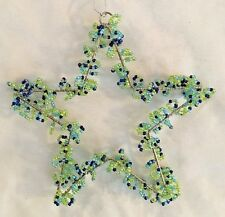 "Green Beads & Metal 5"" Star Ornament Figurine"