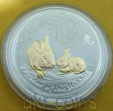 2011 Australia $1 Year of the Rabbit 1 Oz  Lunar II Gilded Silver Coin Perth box