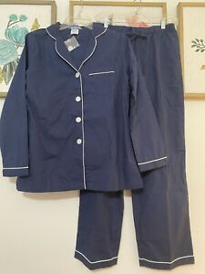 The Company Store Pajama Set Women's Navy White Sz S Small