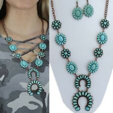 Western Cowgirl Rodeo Copper-Tone Faux Turquoise Squash Blossom Necklace And Ear