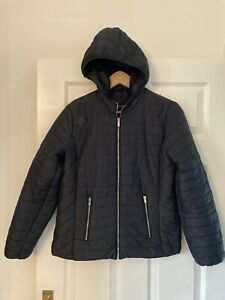 Ladies Black STRADIVARIUS Quilted Padded Jacket with Hood SIZE M Medium
