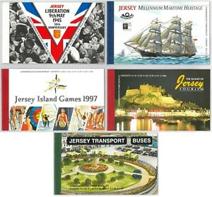 Jersey 5 Prestige Stamp Booklets - Liberation/Tourism/Games/Buses/Heritage 10-7